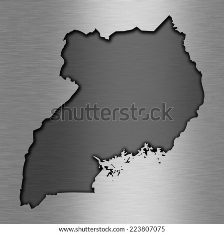 Aluminum background with map - Uganda - stock photo