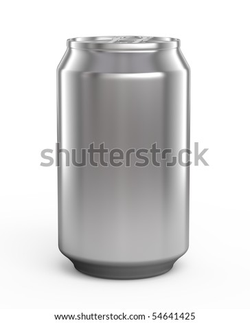 Aluminum beer can isolated over white - stock photo