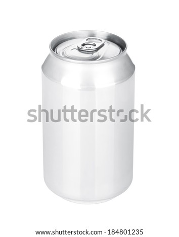 Aluminum beer or soda can. Isolated on white background - stock photo