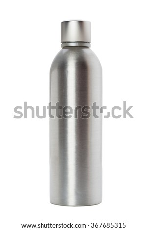 Aluminum bottle isolated on white