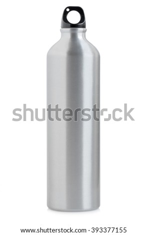 Aluminum bottle water isolated on white background