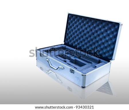 aluminum box on white background with clipping path - stock photo
