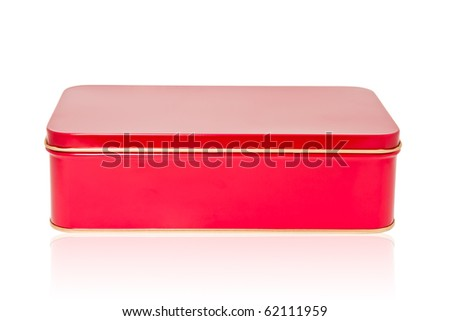 Aluminum box red - stock photo