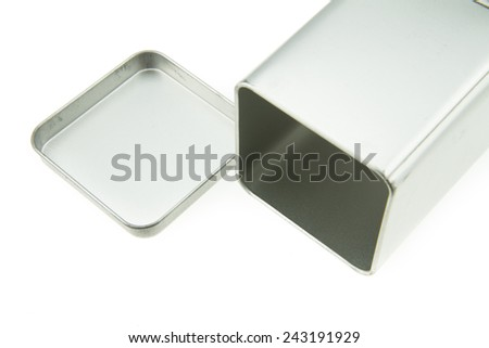 Aluminum Box top isolated on white background - stock photo