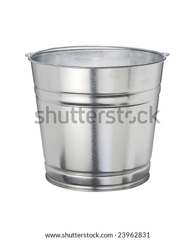 Aluminum Bucket isolated on a white background - stock photo