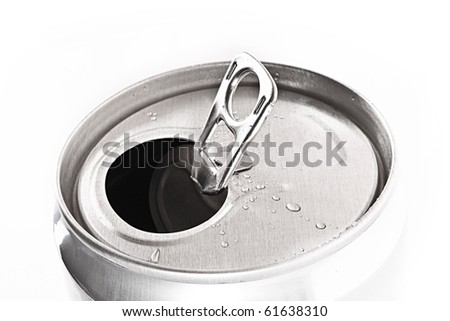 aluminum can closeup with water drops isolated on white - stock photo