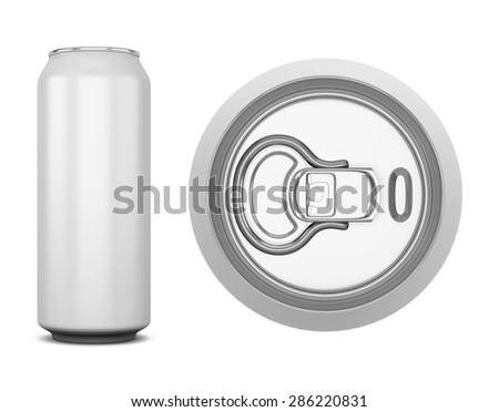 Aluminum can for cola isolated on white background. Side and top views. 3d illustration. - stock photo