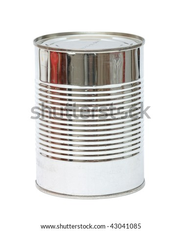 Aluminum can on white background. Isolated. - stock photo