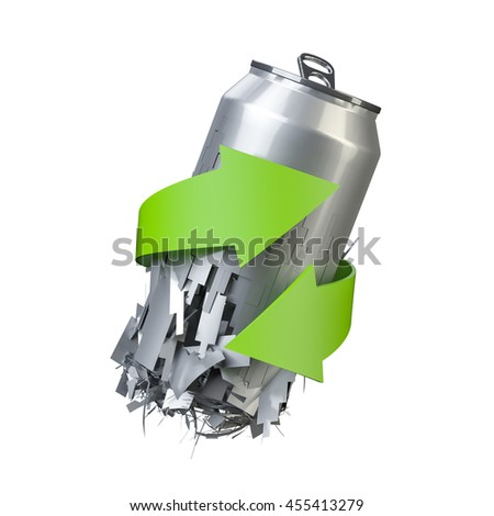 Aluminum can recycle, 3D illustration