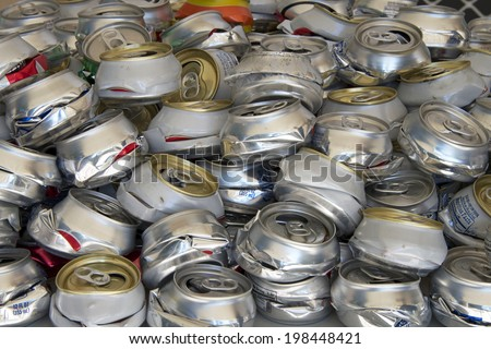 Aluminum can recycling pile - stock photo