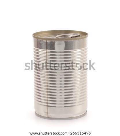 Aluminum,canned food isolated on white background - stock photo