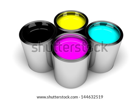 aluminum cans filled with paint cmyk - stock photo