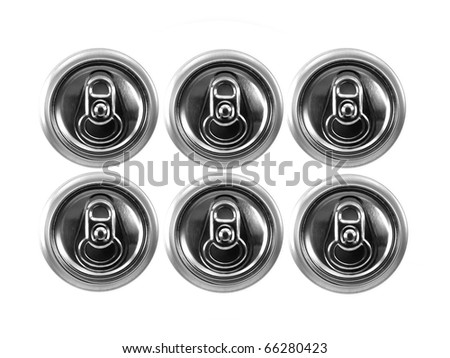 Aluminum cans isolated against a white background