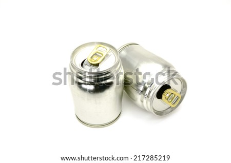 aluminum cans isolated on white - stock photo