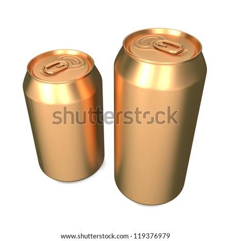 Aluminum Cans Isolated on White Background. - stock photo