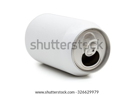 aluminum cans on the white background - stock photo