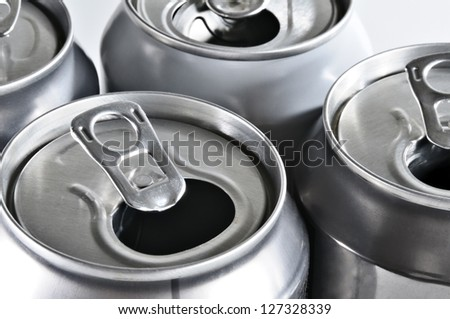 Aluminum cans ready for recycling.  Studio image.