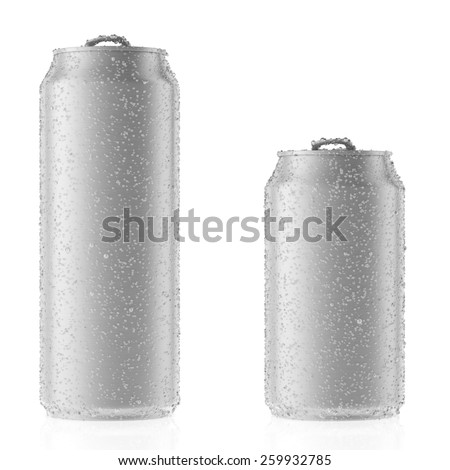 Aluminum cans with copy space isolated on white - stock photo