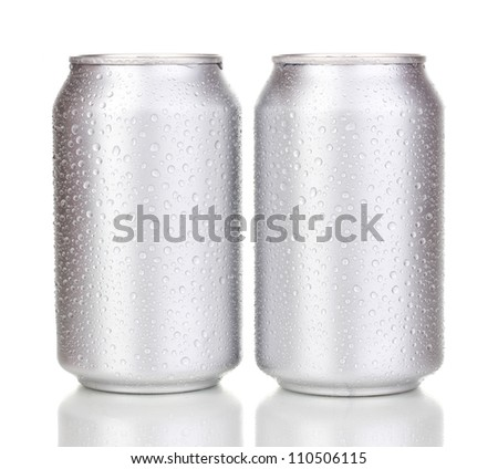 aluminum cans with water drops isolated on white - stock photo