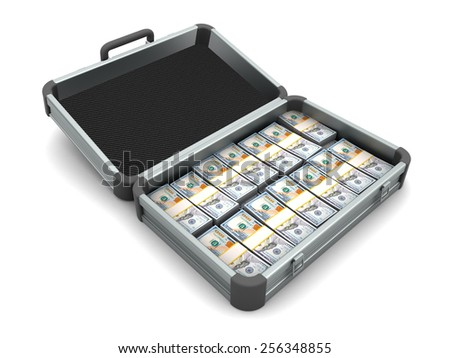 Aluminum case full of hundred dollar bills - stock photo