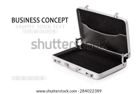 Aluminum case small isolated on a white background. Focus on the handle of the case. for example, and the text is removed  - stock photo