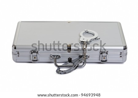 aluminum case with handcuffs over white background - stock photo