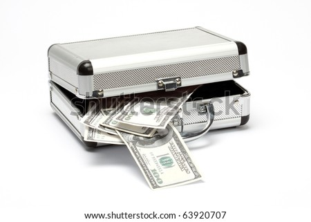 aluminum case with money over white background - stock photo