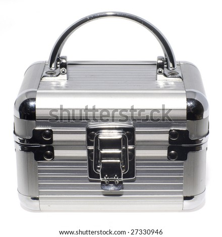 Aluminum CD case on white background - stock photo