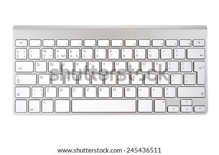 Aluminum computer keyboard isolated on white background - stock photo