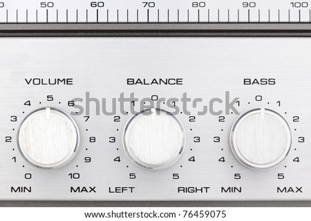 aluminum controlls of an old ghetto blaster - stock photo