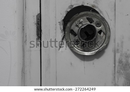 Aluminum door knob damage black/white - stock photo