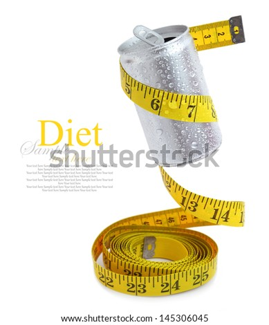 Aluminum drink can with measuring tape - stock photo