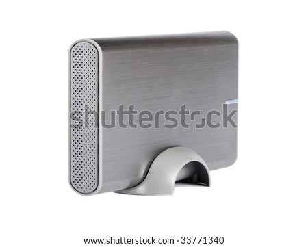 Aluminum external hard disk isolated over white background - stock photo