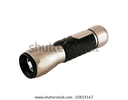 Aluminum flashlight isolated on white