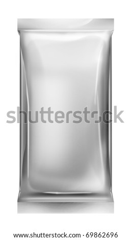 aluminum foil bag package isolated on white background