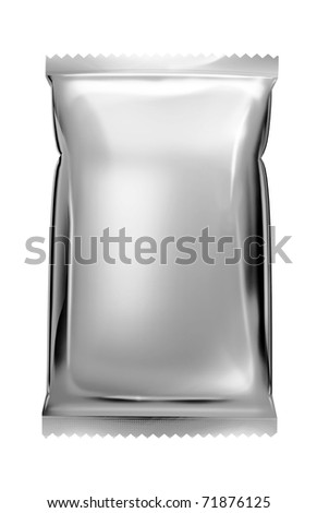 aluminum foil bag package with zigzag cut - stock photo