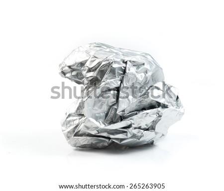 Aluminum foil ball on white background - stock photo