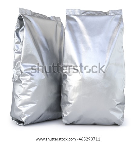 aluminum foil package. Isolated on white background. 3D illustration.