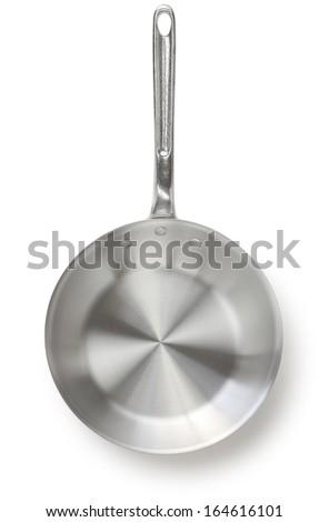 aluminum frying pan isolated on white background - stock photo