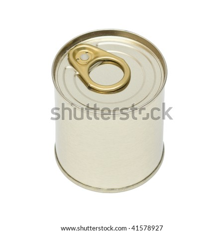 Aluminum key-opening can. Isolation. - stock photo