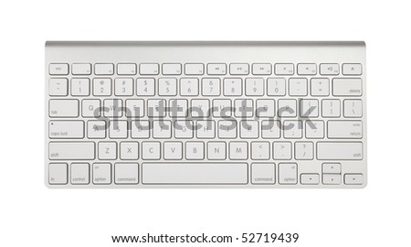Aluminum keyboard isolated on a pure white background - stock photo