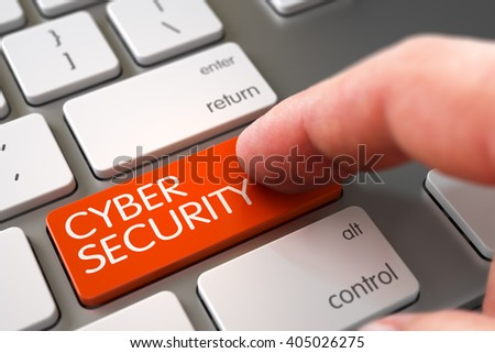 Aluminum Keyboard with Cyber Security Orange Keypad. Hand Touching Cyber Security Button. Hand Pushing Cyber Security Orange Modernized Keyboard Button. 3D Illustration. - stock photo