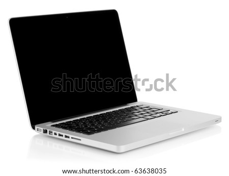 Aluminum laptop with black screen. Isolated on white background - stock photo