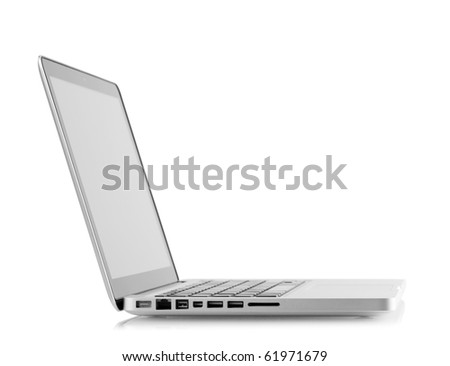 Aluminum laptop with blank screen. Isolated on white background