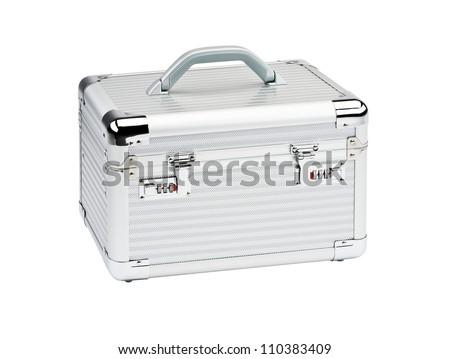 Aluminum Make Up case isolated on white background. - stock photo