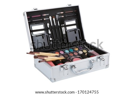 Aluminum make up case with makeup brushes,isolated on white background - stock photo