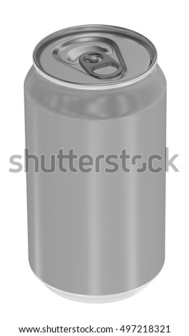 Aluminum metal beverage drink can. Blank design, packing product, 3D render image. Can 350ml.