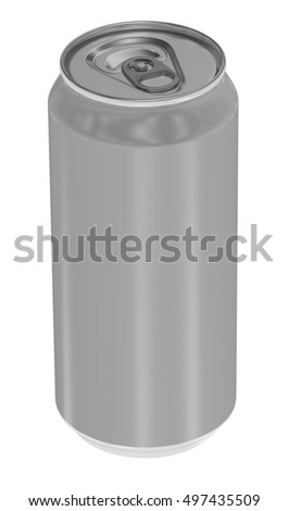 Aluminum metal beverage drink can. Blank design, packing product, 3D render image. Can 500ml.