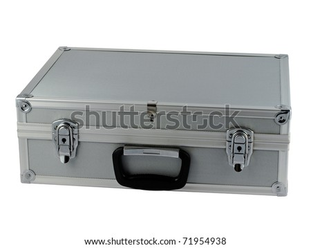 Aluminum metal briefcase closed isolated over white