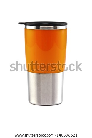 Aluminum orange mug on the white background - stock photo